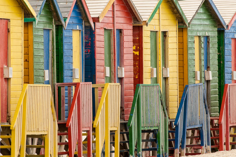 Colorful Beach Huts Arranged In Row