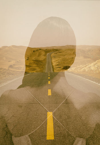 roads that go through the heart Asphalt China Trip Travel Adventure Yellow Line Sensual_woman Backgrounds Lifestyles People Woman Clear Sky Tranquility Desert Beauty In Nature Climate Road Arid Climate Scenics - Nature Sky Outdoors Land Nature Landscape Environment No People Tranquil Scene Day Symbol Remote Marking Digital Composite