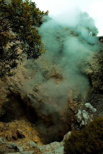Beauty In Nature Day Geology Geyser Heat - Temperature Hot Spring Landscape Nature No People Outdoors Rock - Object Scenics Smoke - Physical Structure Sulphur