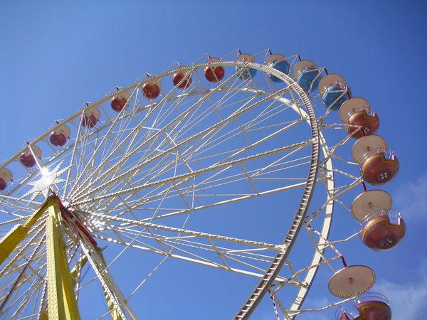Riesenrad, ferris wheel Amusement Park Amusement Park Ride Arts Culture And Entertainment Big Wheel Blue Clear Sky Day Ferris Wheel Low Angle View No People Outdoors Riesenrad Sky