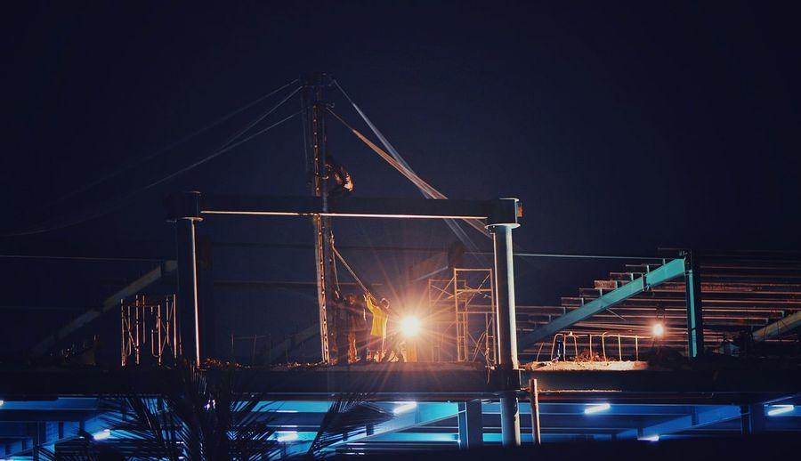 Night Industry Crane - Construction Machinery Illuminated Outdoors NightshiftBuilt Structure Working Cebu Philippines EyeEm Phillipines