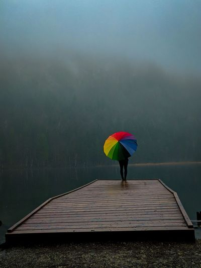 Person with umbrella standing against lake during foggy weather
