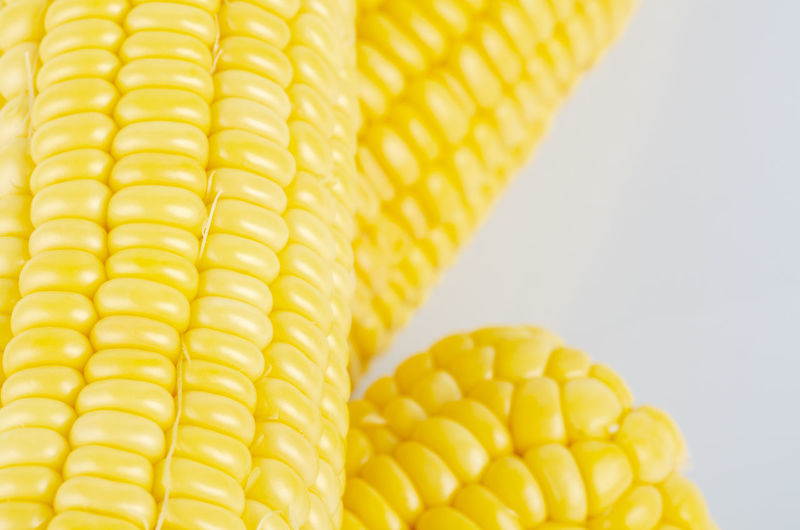 fresh raw sweet corn on the cob kernels over white background Yellow Corn Food And Drink Food Sweetcorn Freshness Vegetable Healthy Eating Wellbeing Corn On The Cob Close-up Still Life Indoors  No People Raw Food Studio Shot Crop  White Background Agriculture Pattern