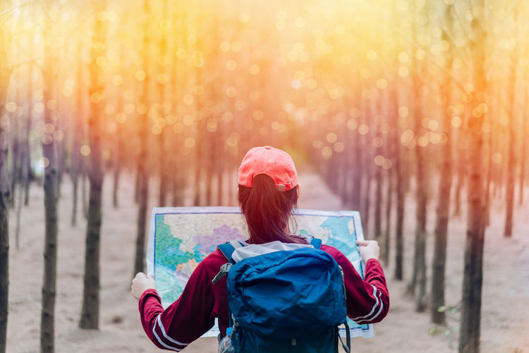 Rear View Of Female Hiker Reading Map While Standing In Forest
