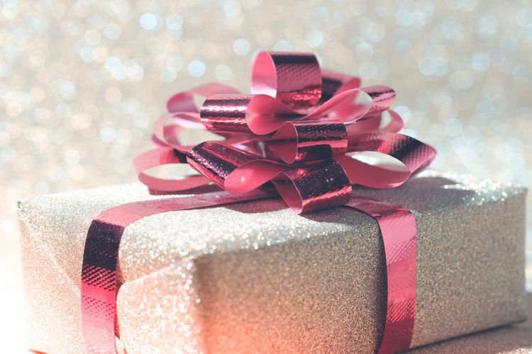 Close-up of christmas present on table