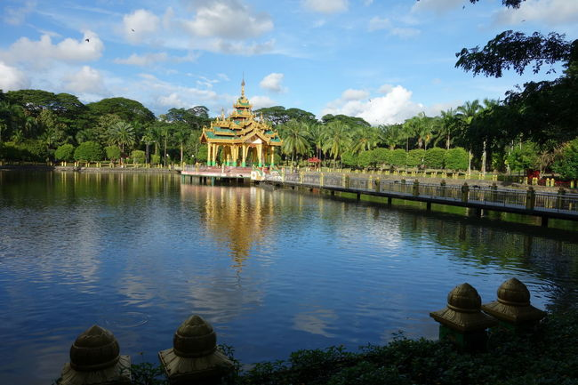 Kandawgyi Park Yangon Architecture Beauty In Nature Building Exterior Built Structure Cloud - Sky Day History Kandawgyi Lake Myanmar Nature No People Outdoors Park Place Of Worship Reflection Religion Sky Spirituality Statue Travel Destinations Tree Water