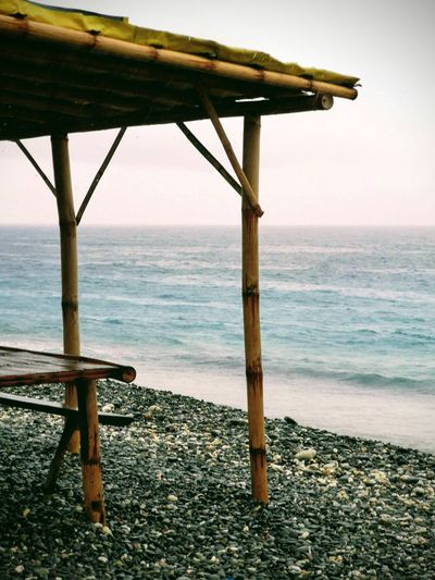 by thr beach Bamboo Beach Hut By The Beach Water Sea Beach Wood - Material Sky Horizon Over Water Architecture Built Structure