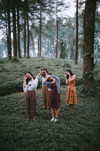 Group of people in the forest