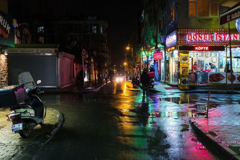 Rainy Istanbul nights. Adult Adults Only Architecture Building Exterior Built Structure City City Street Colorful Döner Extreme Weather Feriköy Illuminated Istanbul Night Night Lights Nightlife Outdoors People Rain Rainy Night Reflection Reflections Street Water Wet