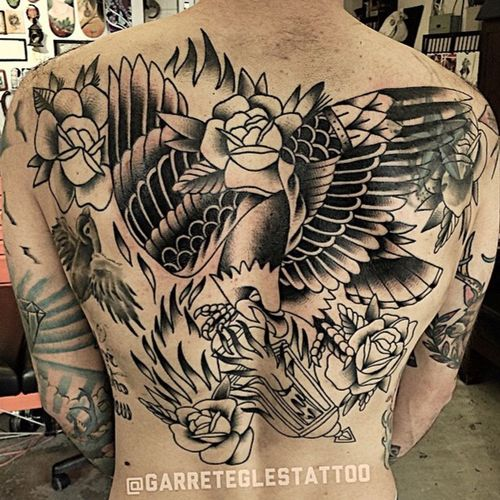 My work in progress back piece. Back Piece Tattoos Guys With Tattoos Tattooedmen Traditionaltattoo