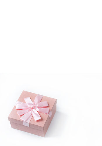 High angle view of paper box on white background