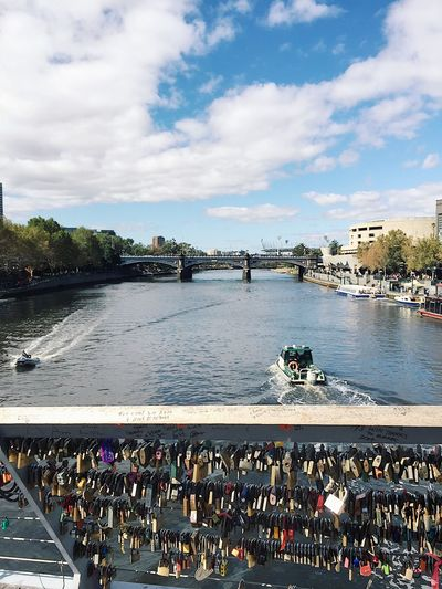 Melbourne Love Locks Water Large Group Of People Sky Outdoors Real People Cloud - Sky Day River Transportation Tourist Women Leisure Activity Men Travel Destinations Crowd Building Exterior Bridge - Man Made Structure City Architecture Nature Yarra River View