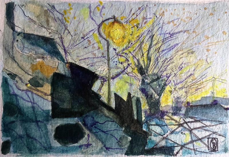 """Seeing the light watercolour 6""""""""x4"""" Surrey Artists'Open Studio for Chertsey Artist, 19 artists taking part at 6a Windsor Street Chertsey kT16 8AS from 11to12 and 18to19 June opening from 11am to 5pm ArtWork Watercolour"""