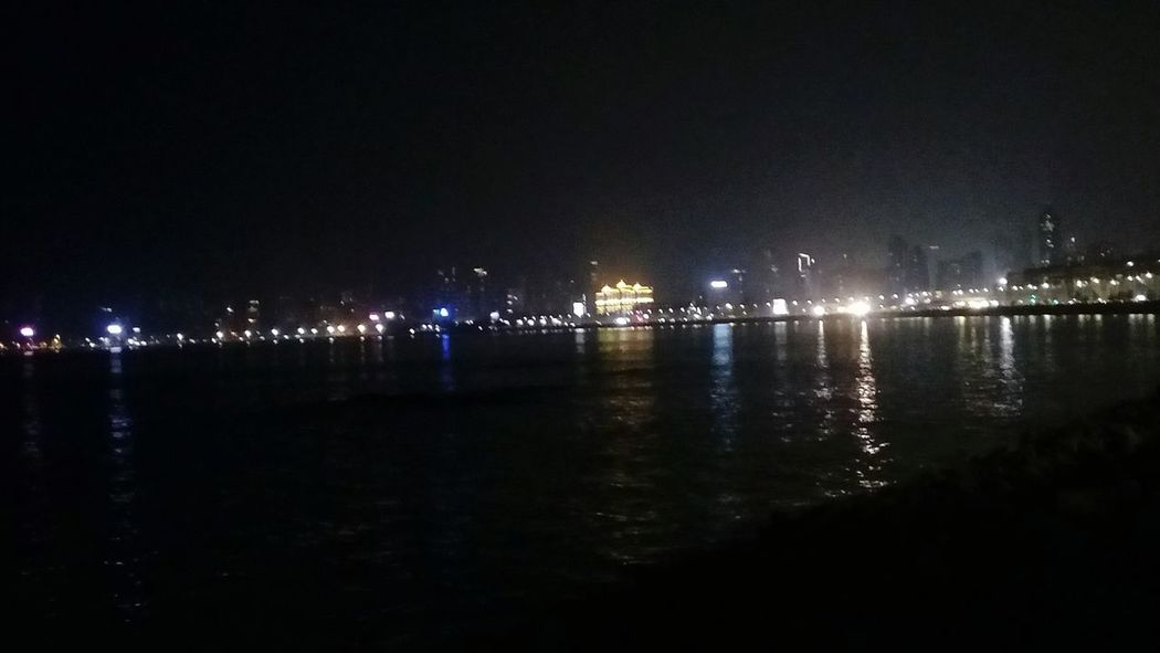 City Marinedrive Queens Necklace Mumbai Indiaclicks Indiapictures Nature_collection Mumbaimerijaan Reflections In The Water Nightphotography Copy Space Illuminated City Sea Shore Coastline Illuminated Nature Photography
