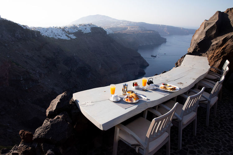 View of food on table against landscape