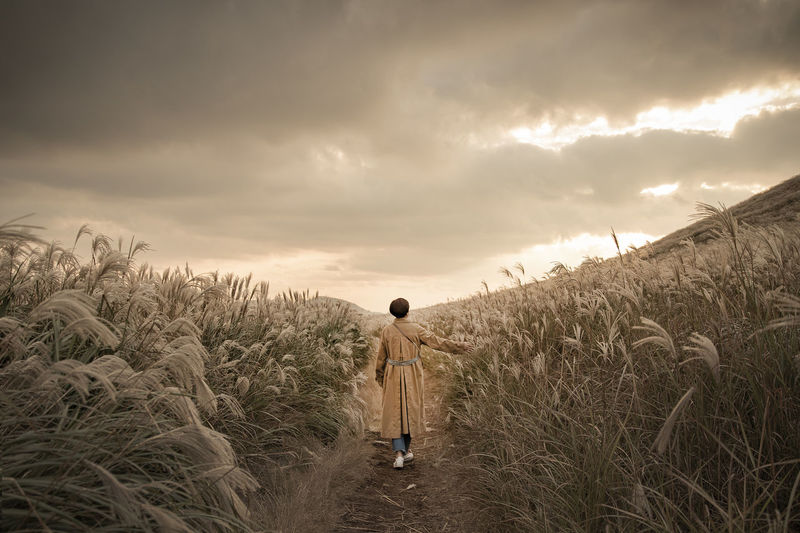 Rear view of mature woman walking on field amidst plants against cloudy sky during sunset