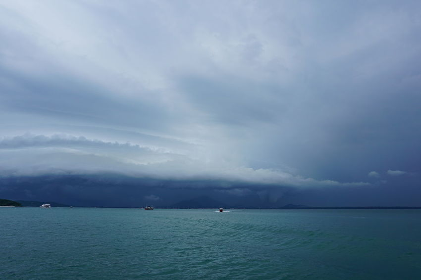 stormy sea, gulf of Thailand Beauty In Nature Boats Cloud - Sky Day Island Escape Island Experience Koh Samed Landscape Nature Nautical Vessel No People Outdoors Rayong Samed Scary Scenics Sea Season  Sky Storm Cloud Storm Clouds Stormy Sky Stormy Weather Travel Destinations Water