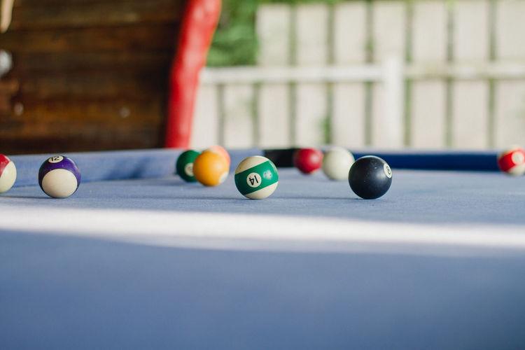 Pool balls on table