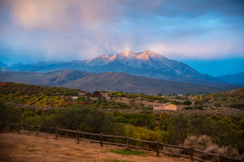 Pink clouds over Mount Sopris Beauty In Nature Blue Day Landscape Mountain Mountain Range Mountain Top Nature No People Outdoors Scenics Sky Tranquil Scene Tranquility