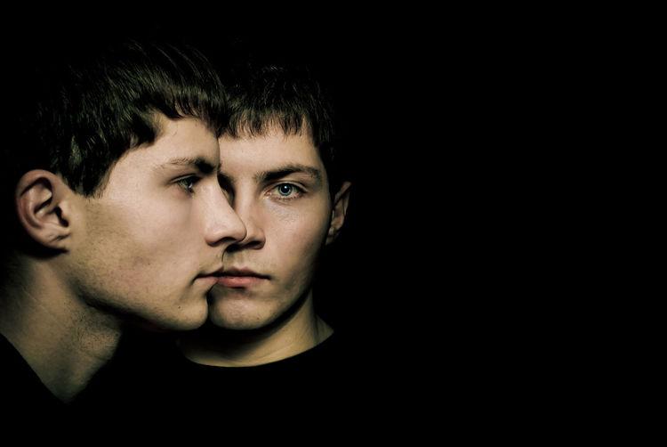 Black Background Black Hair Brather Dark Headshot Human Face Person Studio Shot Twins