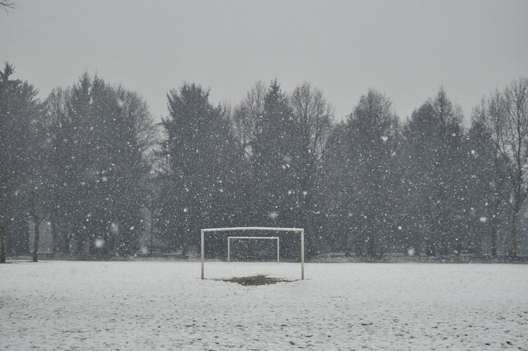 The game of snow Football Goal Absence Beauty In Nature Blizzard Cold Temperature Covering Extreme Weather Field Football Field Land Nature No People Outdoor Play Equipment Plant Scenics - Nature Sky Snow Snowcapped Mountain Snowflake Snowing Tranquil Scene Tranquility Tree Winter