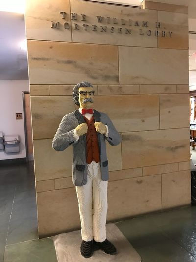 Mark Twain LEGO Representation Full Length One Person Clothing Art And Craft Human Representation Costume Creativity Traditional Clothing Indoors  Male Likeness Unrecognizable Person Architecture Humor Dressing Up Obscured Face Wall - Building Feature Standing