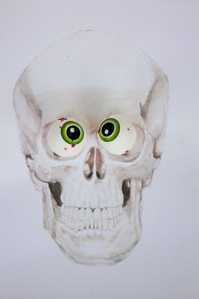 Halloween-themed candy placed strategically on a watercolored skull painting for a funny overall effect. Fun Funny Halloween Halloween Horrors Halloween_Collection Holiday Humor Candy Conceptual Food Mixed Media Painting Skull Watercolor White Background