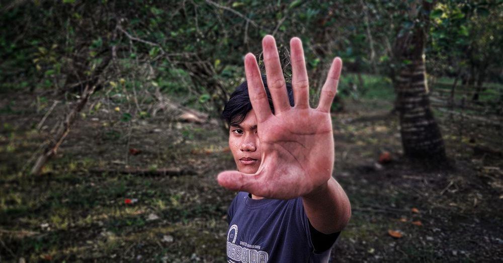 Portrait of human hand in sunlight