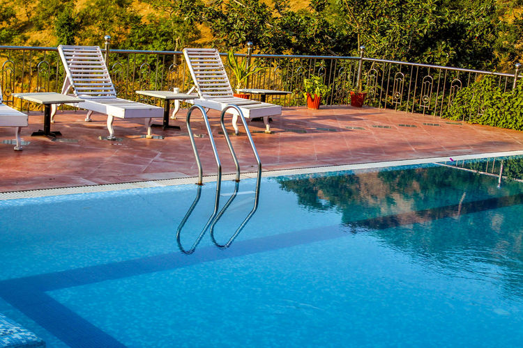 Empty chairs by swimming pool against trees