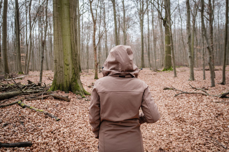 EyeEm Nature Lover Forest Hooded Shirt Nature One Person Outdoors People Rear View Walking In The Woods Women