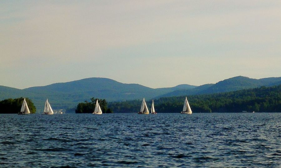 Landscapes With WhiteWall Lake George NY Sailboat Sailing Race Lake Mountains Sailboats Water Racing Trees The Great Outdoors - 2016 EyeEm Awards The Essence Of Summer Need For Speed