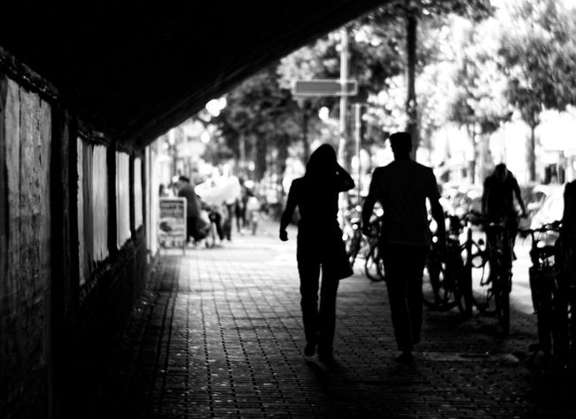 Black & White Black And White Blackandwhite Photography Bnw Claudetheen Rear View Street Photography Streetphoto_bw Streetphotography The Way Forward Two People Unsharp Walking