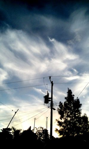 El cielo no es el límite.🌁 Cute Bird Telephone Line Tree Sunset Silhouette Perching Flock Of Birds Technology Sky Electricity Pylon First Eyeem Photo