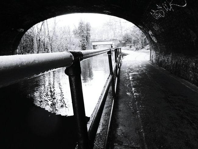 Blackandwhite Under The Bridge Veiw From Cannal
