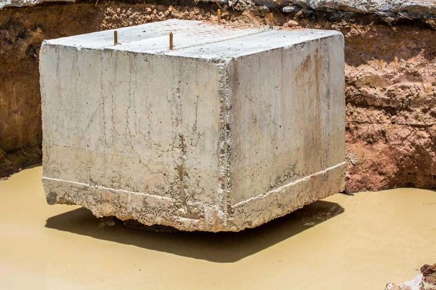 Levitating concrete Block Concrete Constuction Cube Day Flooded Footings Foundation Levitation No People Outdoors Rebar