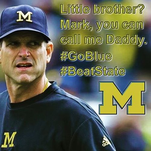 @michiganfball BeatState Harbaugheffect Wolverines Hail  Michigan GoBlue Victors