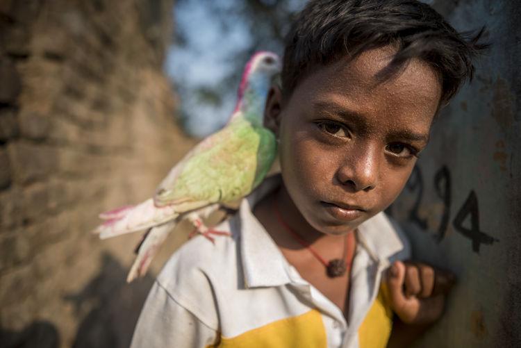Close-up portrait of boy holding bird