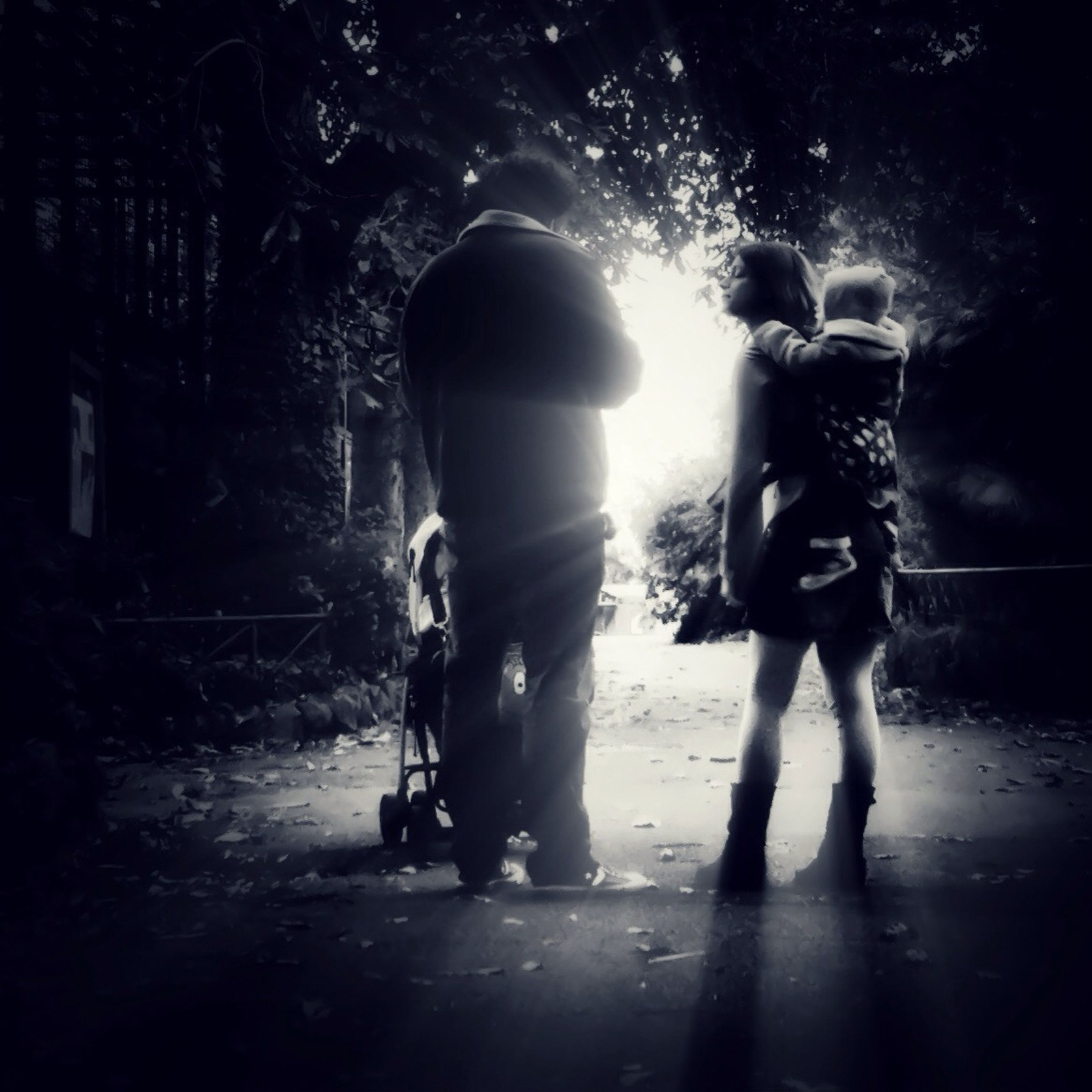 lifestyles, togetherness, bonding, leisure activity, love, full length, men, rear view, family, childhood, boys, family with one child, girls, holding hands, walking, friendship, silhouette