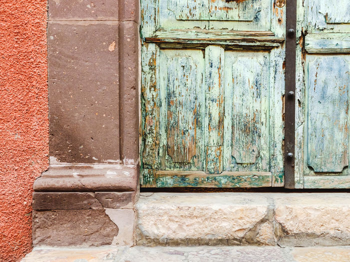 Close-up of weathered door