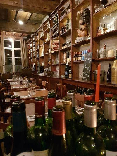 Indoors  Bottle Shelf Alcohol Food And Drink Large Group Of Objects Wine Bottle Drink No People Lille Vieux Lille Estaminet Restaurant