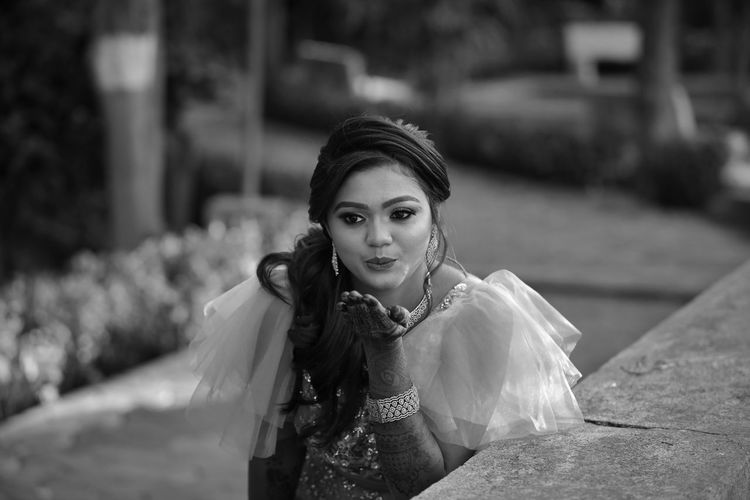 Black and white photography of bride