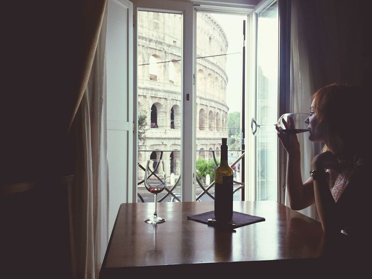 Nice view Window Indoors  Person In Front Of Italy Colosseo Colosseum Traveling Dreams Wine Tasting Dolcevita  Mylove Rome