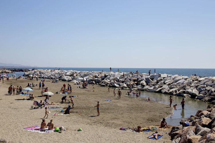 Sea Water Sky Beach Horizon Over Water Horizon Nature Clear Sky Group Of People Large Group Of People Beauty In Nature Day Holiday Trip Vacations Scenics - Nature Summer
