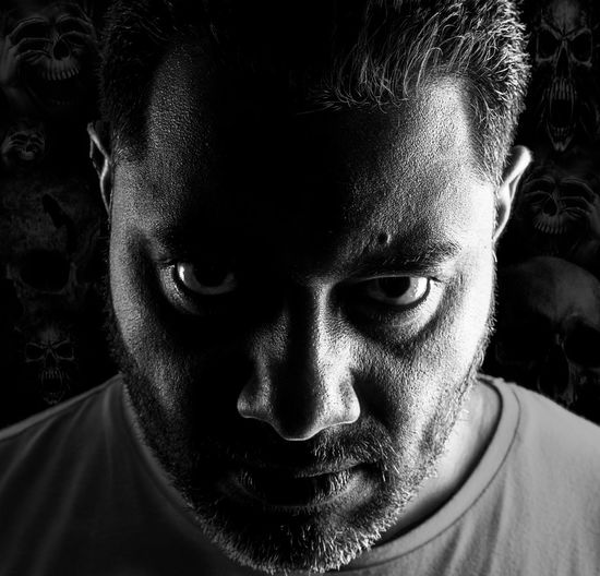 I hear voices Adult Anger Angery Black & White Black And White Blackandwhite Close-up Day Face Faces Of EyeEm Fear Headshot Human Face Indoors  Looking At Camera One Person People Portrait Real People