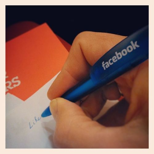 Taking notes on paper to Share and Like on Facebook at TECCY INNOAPPS fb