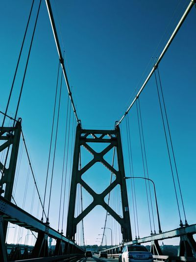 Connection Bridge - Man Made Structure Business Finance And Industry Golf Club Cable Metal Steel Girder Sky Clear Sky Electricity  Pattern City Travel Destinations Silhouette Landscape Suspension Bridge Outdoors Blue No People