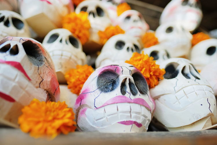Close-Up Of Artificial Skulls With Flowers