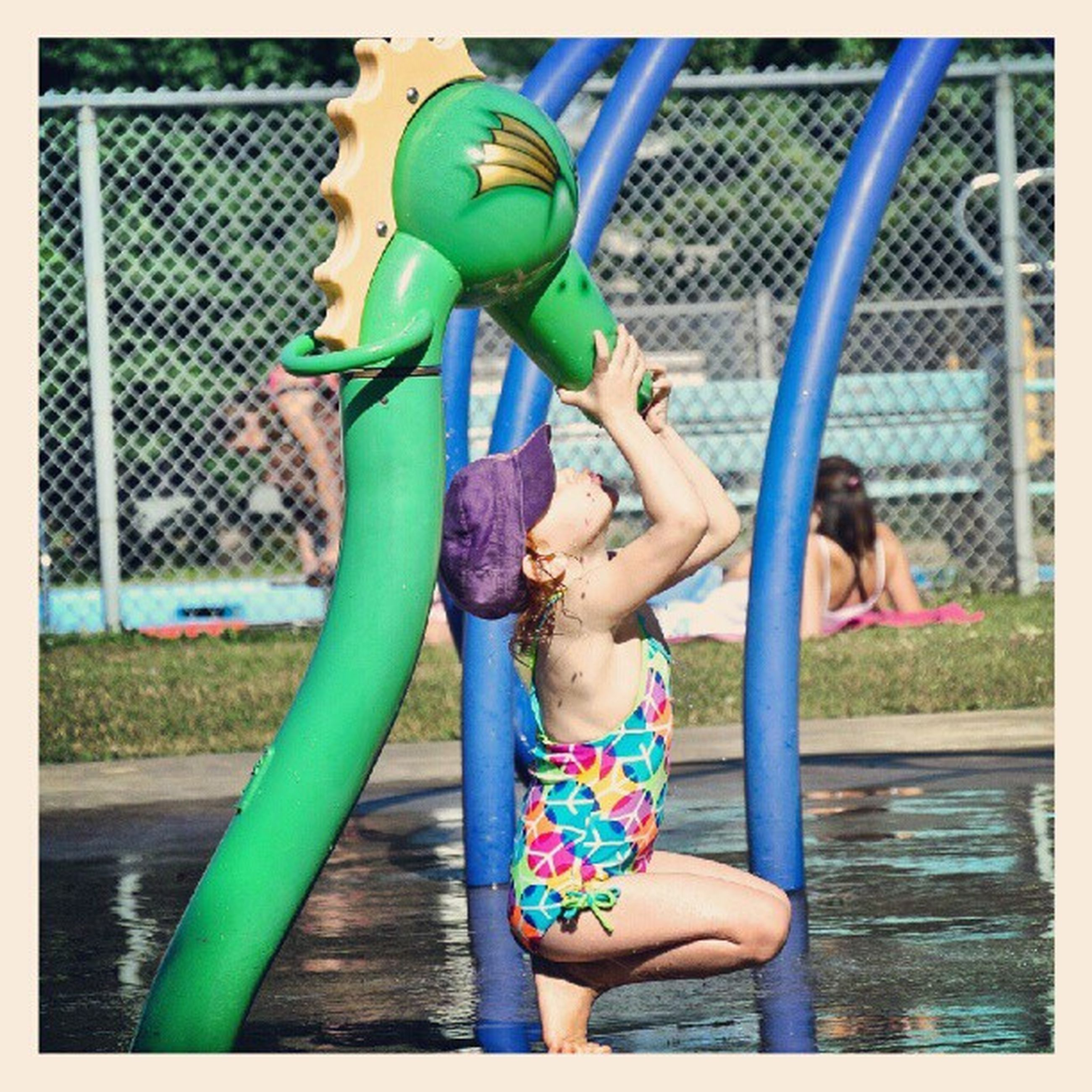transfer print, childhood, lifestyles, leisure activity, full length, elementary age, auto post production filter, boys, playing, girls, playful, fun, playground, enjoyment, casual clothing, innocence, holding