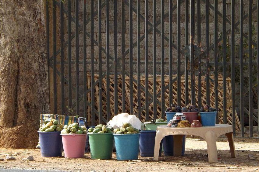 Au Bord De La Route Barriere Fruits Frais Alimentation Animal Themes Container Day Drum - Container Figues Marchandises No People Outdoors Seau Table