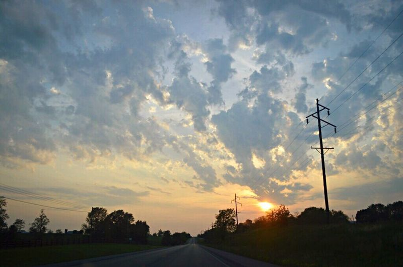 Sunset Connection Silhouette Cloud - Sky Sky No People Electricity  Cable Electricity Pylon Fuel And Power Generation Road Technology Tree Outdoors Nature Day Beauty In Nature Telephone Line